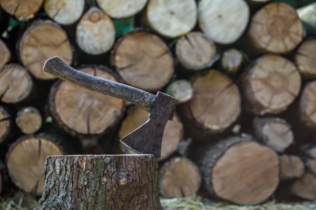 Un mazzo di tronchi accatastati e un'ascia
