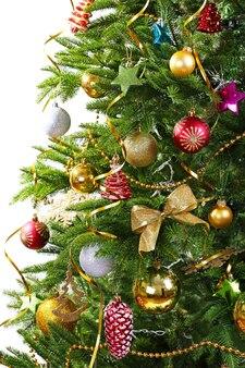 Primo piano decorato dell'albero di natale