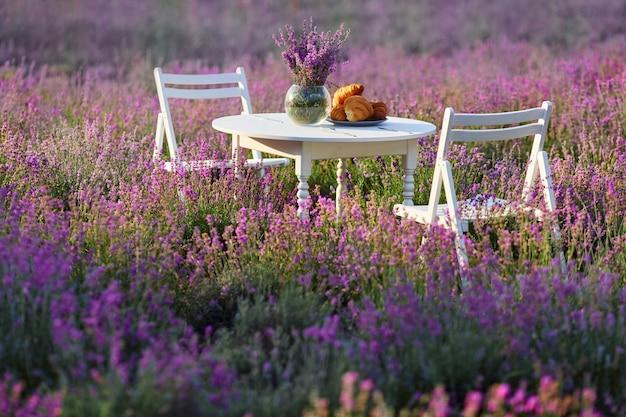 Tavolo e sedie decorati in campo di lavanda