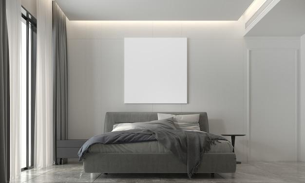 La decorazione e l'accogliente finto design degli interni della camera da letto e della cornice di tela vuota e del modello di parete bianca sullo sfondo del rendering 3d