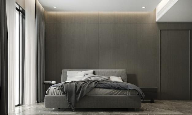 La decorazione e l'accogliente mock up interior design della camera da letto e il rendering 3d dello sfondo del modello di parete in legno vuoto