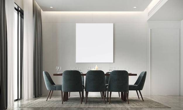 La decorazione e l'accogliente finto design degli interni della sala da pranzo e la cornice di tela vuota e il rendering 3d dello sfondo del modello di parete bianca