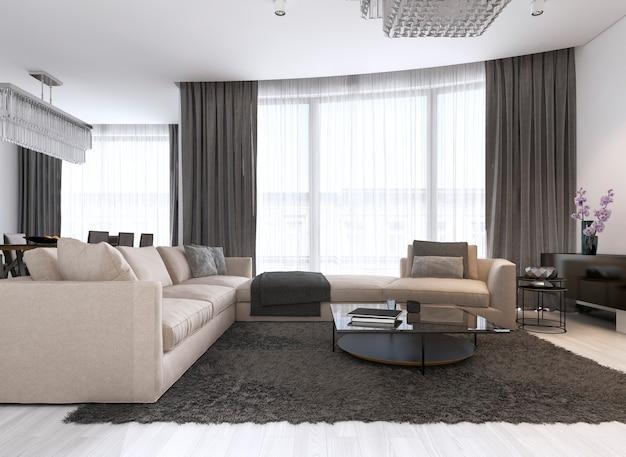 Decorazione e design del soggiorno contemporaneo. rendering 3d