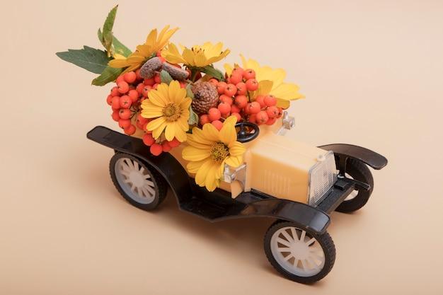Composizione decorativa in autunno di una macchinina con sorbo, fiori e foglie, ghiande
