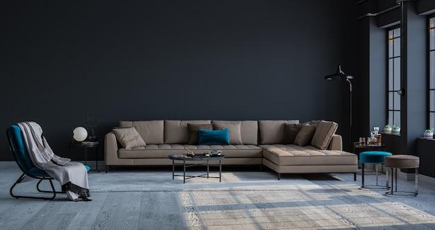 Sfondo decorativo di una stanza a casa, in ufficio e in hotel. divano dal design moderno e dettagli interni luminosi e moderni sullo sfondo di un muro e una finestra.