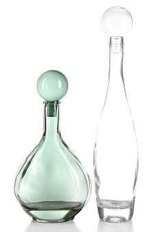 Bottiglie decorative, isolate su bianco