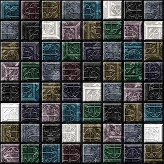 Piastrelle ceramiche decorative. mosaico in pietra colorata. elemento per l'interior design. trama di sfondo