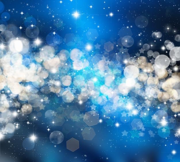 Sfondo natalizio decorativo di stelle e luci bokeh