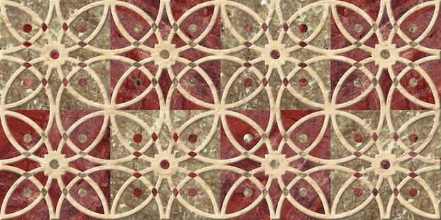Piastrelle in ceramica decorativa in rilievo con un motivo. trama di sfondo.