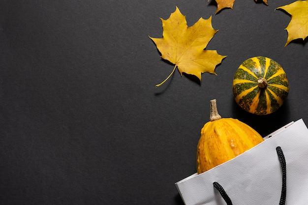 Zucche decorative in un sacchetto riutilizzabile fatto a mano