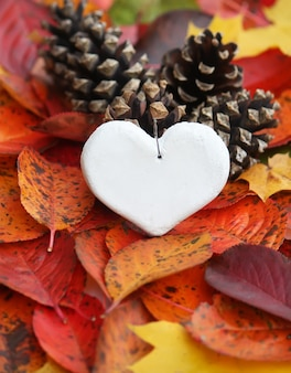 Cuore bianco decorativo fatto a mano su sfondo di foglie di autunno.
