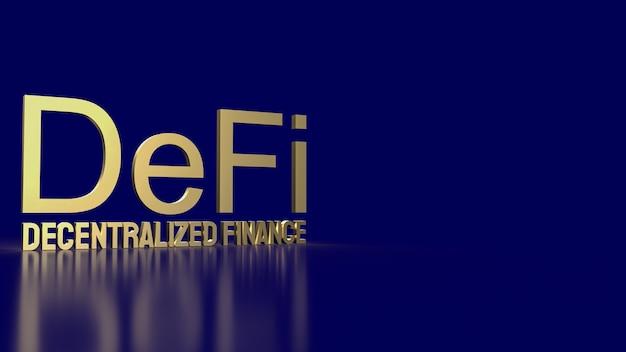 La parola d'oro agricola defi su sfondo blu per il concetto di business di criptovaluta 3d rendering