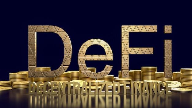 La parola d'oro agricola defi e le monete d'oro per il concetto di business di criptovaluta 3d rendering