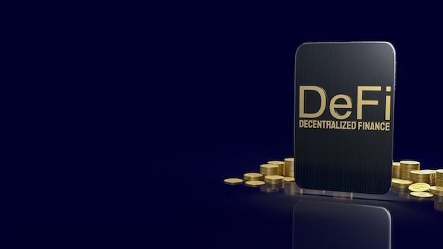 La parola e il tablet defi farming gold per il concetto di business di criptovaluta 3d rendering