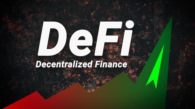 Defi è una finanza decentralizzata che sta guadagnando popolarità e clamore. grafico verde della crescita del nuovo settore finanziario. defi fintech concetto. orizzontale.