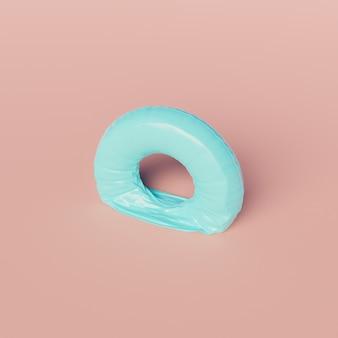 Anello galleggiante per piscina sgonfio su sfondo pastello. scena minima. concetto di fine estate. rendering 3d