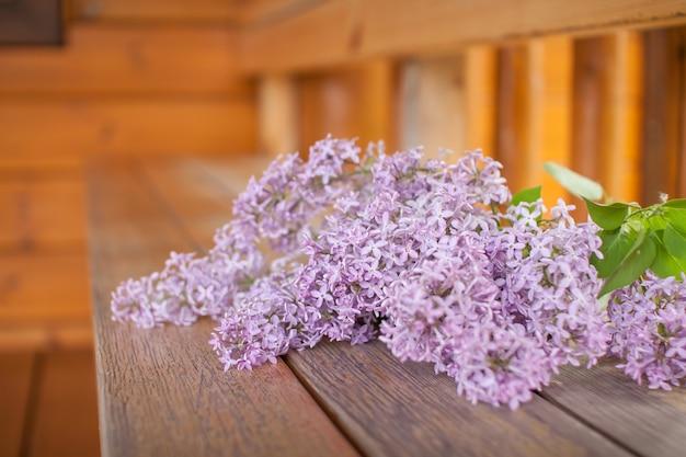 Delicati cespugli di lillà fioriti freschi nel parco in una giornata di sole primaverile