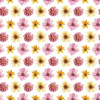 Delicati motivi floreali pressati ad acquerello senza soluzione di continuità e composizioni floreali essiccate sono posti su bianco