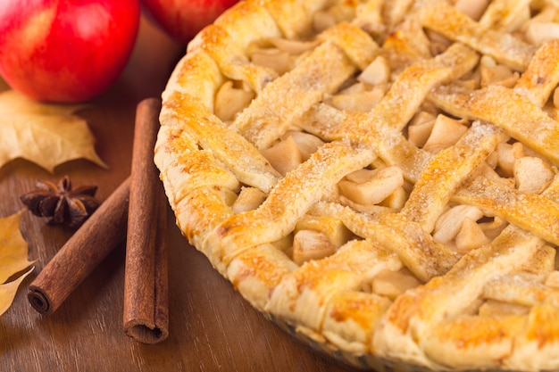 Torta di mele deliziosa, primo piano
