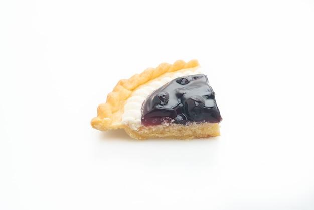 Deliziosa torta di formaggio ai mirtilli isolata su sfondo bianco Foto Premium