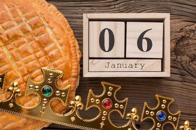 Delizioso dessert della torta dell'epifania il 6 gennaio