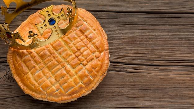 Deliziosa vista dall'alto del dessert torta dell'epifania