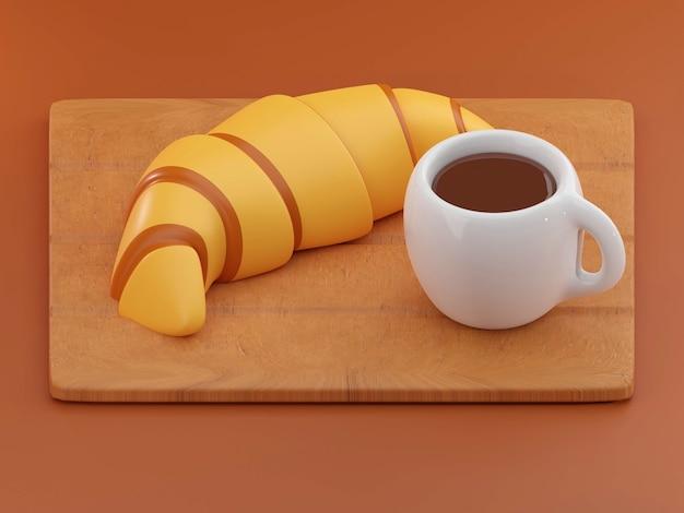 Deliziosi croissant freschi sullo sfondo i croissant hanno isolato il rendering 3d della colazione francese