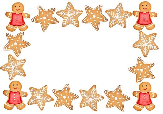 Deliziosi biscotti di natale fatti in casa su sfondo bianco con copia spazio