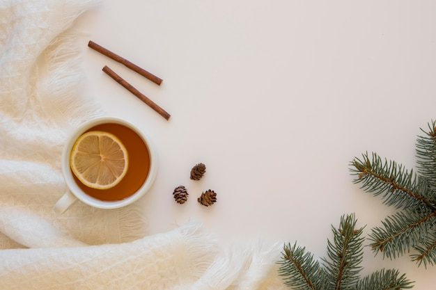 Delizioso tè caldo con panini alla cannella
