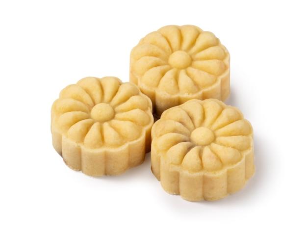 Deliziosa torta di luna di fagiolo mungo torta mooncake per cibo di mid-autumn festival isolato su sfondo bianco da tavola.