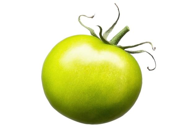 Delizioso singolo pomodoro verde isolato su sfondo bianco con tracciato di ritaglio