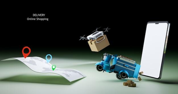 Auto di consegna e drone di consegna che iniziano a non consegnare il rendering delle illustrazioni 3d
