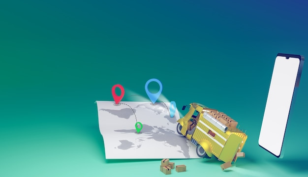 Auto di consegna che inizia a fuori consegna tramite tracciamento gps nel rendering delle illustrazioni 3d della mappa
