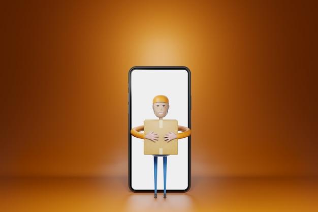 Ragazzo delle consegne con la cassetta dei pacchi che esce dal rendering 3d dello smartphone