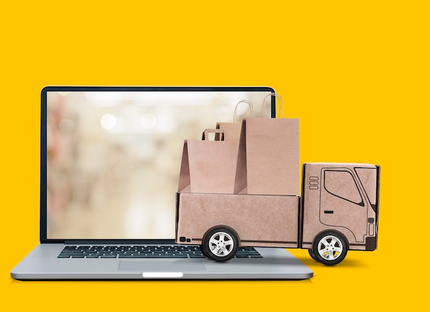 Concetto di consegna online shopping online
