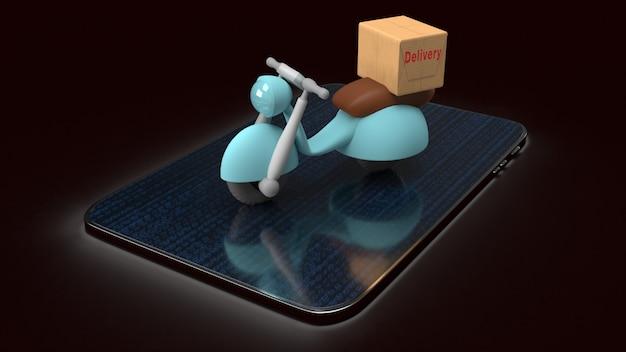 La consegna invia l'ordine con la bici dei motori, la rappresentazione 3d