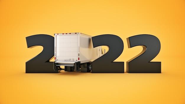 Concetto di camion di consegna 2022 segno di capodanno 3d rendering 3d rendering