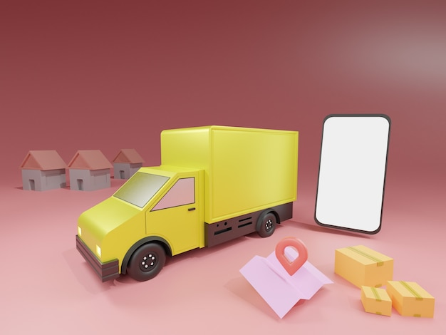 Furgone di consegna e telefono cellulare con mappa