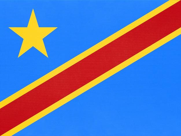Bandiera del tessuto nazionale della repubblica democratica del congo, sfondo tessile.