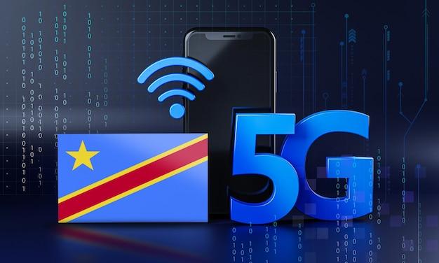 Repubblica democratica del congo pronta per il concetto di connessione 5g. sfondo di tecnologia smartphone rendering 3d