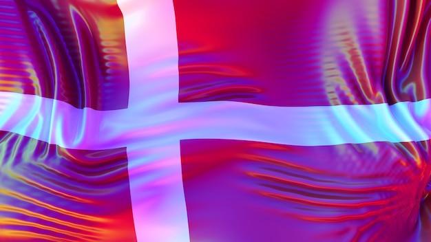 Bandiera della danimarca con riflessi arcobaleno lgbt.