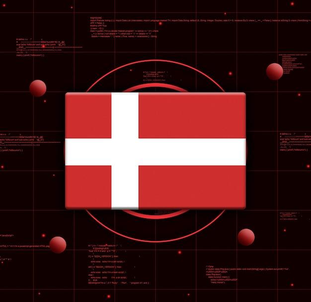 Bandiera della danimarca con elementi tecnologici realistici, rendering 3d