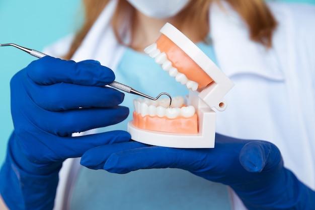 Appuntamento dal dentista, strumenti di odontoiatria e concetto di controllo igienista dentale con modello di denti