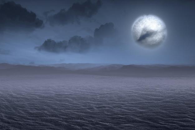 Deserto con la luna piena con lo sfondo della scena notturna