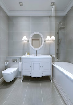 Design del bagno classico con pareti grigio chiaro