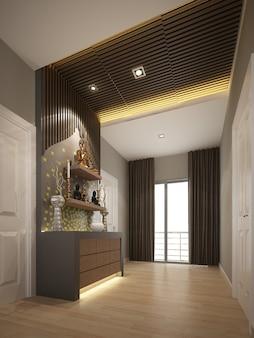Design di interni camera buddha. rendering 3d