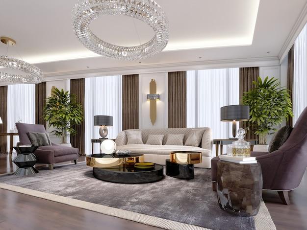 Progettazione di appartamenti di lusso in stile moderno con mobili di design e grandi tendaggi. rendering 3d.