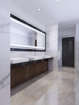 Progettazione di un bagno pubblico in marmo bianco e nero. rendering 3d