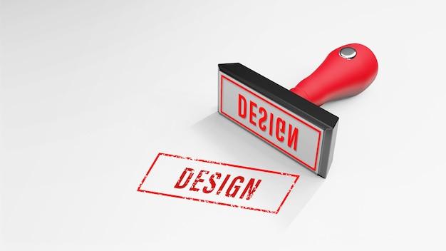 Design timbro di gomma rendering 3d