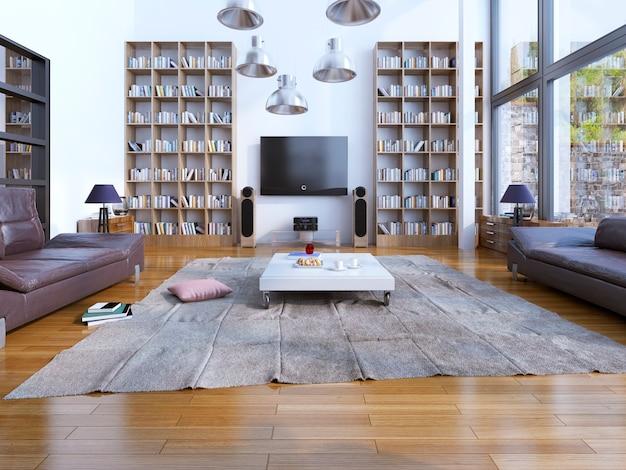 Progettazione di ampio soggiorno con finestre.